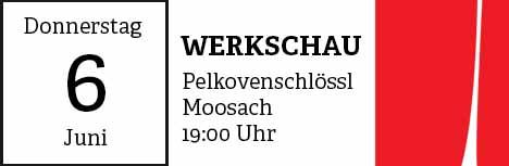 Die nächste Werkschau findet am 06.Juni 2019 um 19:00 Uhr im Pelkovenschlössl, Moosach statt.